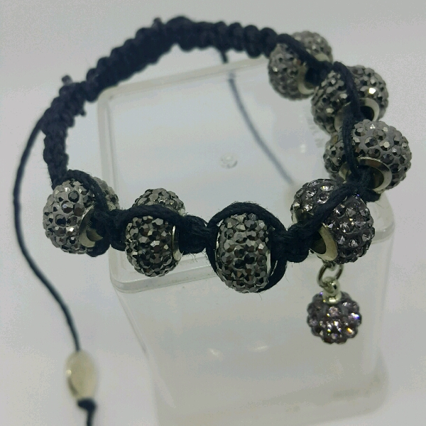 Black Hemp Cord Macrame Bracelet With Large Black Rondelle Pave