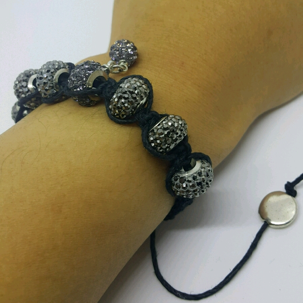 Black Hemp Cord Macrame Bracelet With Large Black Rondelle Pave3
