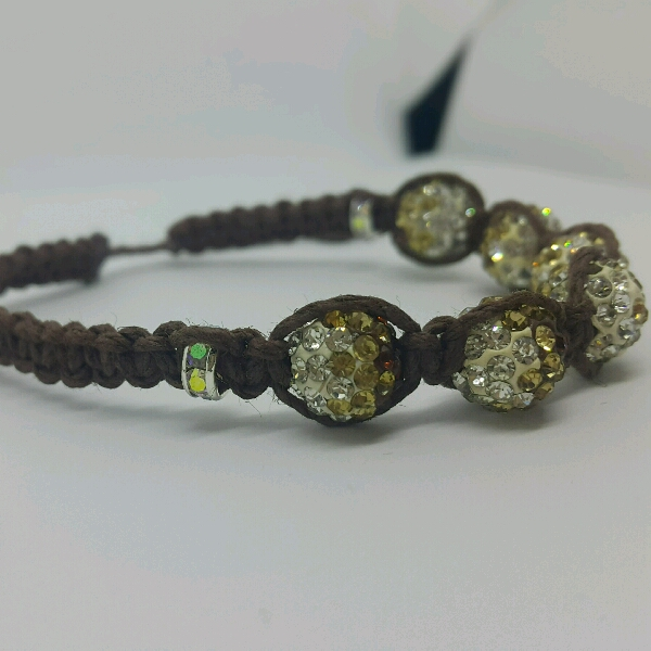 Brown Hemp Cord Macrame Bracelet With Brown Rondelle Crystals & Small Rondelle Crsytals