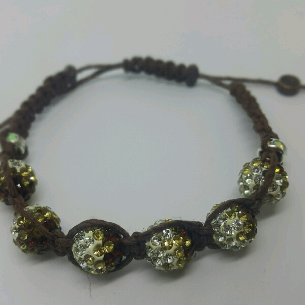 Brown Hemp Cord Macrame Bracelet With Brown Rondelle Crystals & Small Rondelle Crsytals1