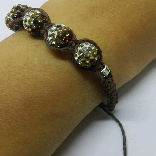 Brown Hemp Cord Macrame Bracelet With Brown Rondelle Crystals & Small Rondelle Crsytals2