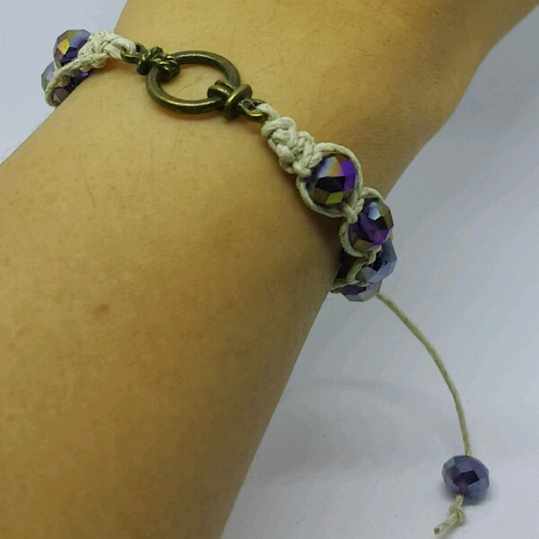Divider Macrame Bracelet With Faux Crystal Beads