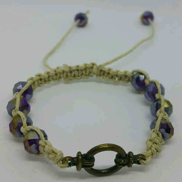 Divider Macrame Bracelet With Faux Crystal Beads1