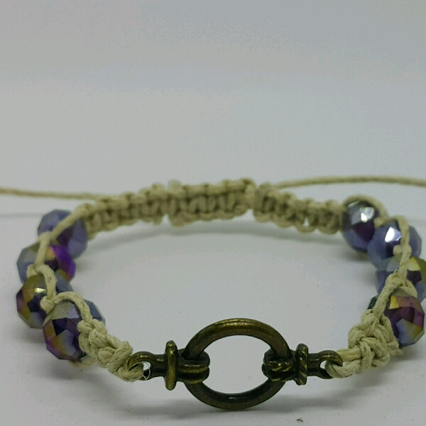 Divider Macrame Bracelet With Faux Crystal Beads2