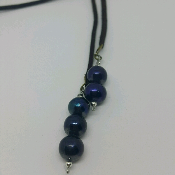 Easy Strap On Necklace With Blue Color Genuine Sea Water Pearls1