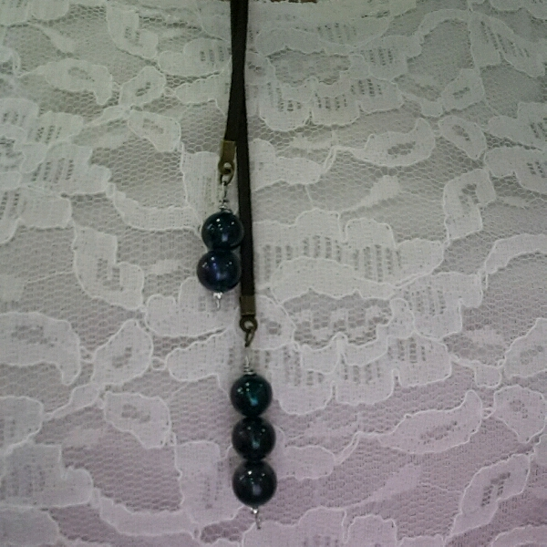 Easy Strap On Necklace With Blue Color Genuine Sea Water Pearls2