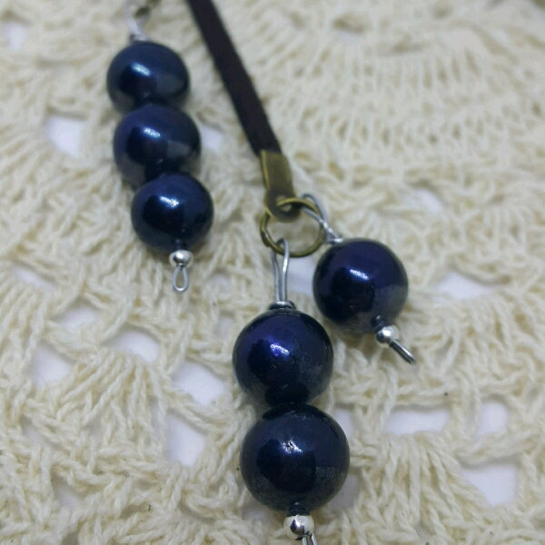 Easy Strap On Necklace With Blue Color Genuine Sea Water Pearls