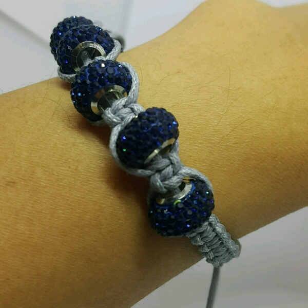 Grey Macrame Bracelet With Large Navy Blue Rondelle Crystals