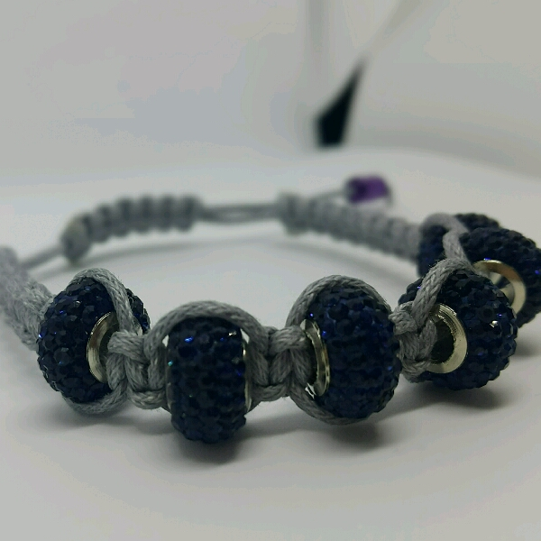 Grey Macrame Bracelet With Large Navy Blue Rondelle Crystals1