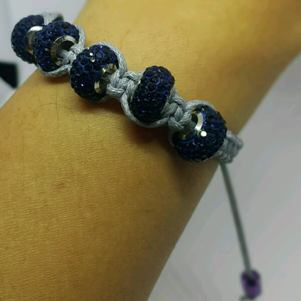 Grey Macrame Bracelet With Large Navy Blue Rondelle Crystals2