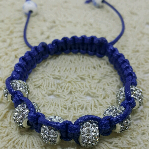 Large Navy Blue Cord Macrame Bracelet With Large Rondelle Crystals