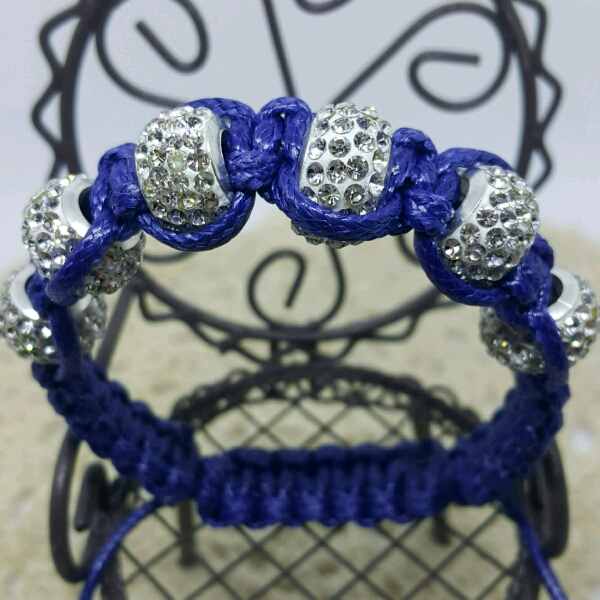 Large Navy Blue Cord Macrame Bracelet With Large Rondelle Crystals1