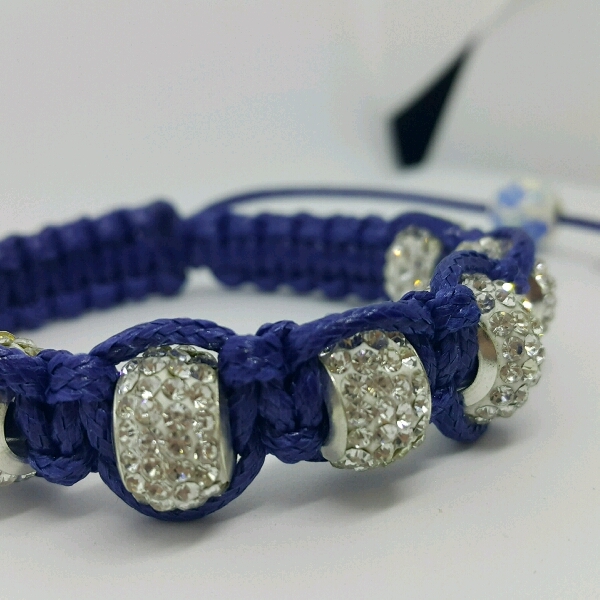 Large Navy Blue Cord Macrame Bracelet With Large Rondelle Crystals3