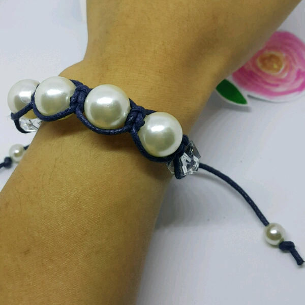 Large Navy Blue Cord Macrame Bracelet With Large Faux Pearls & Cubes