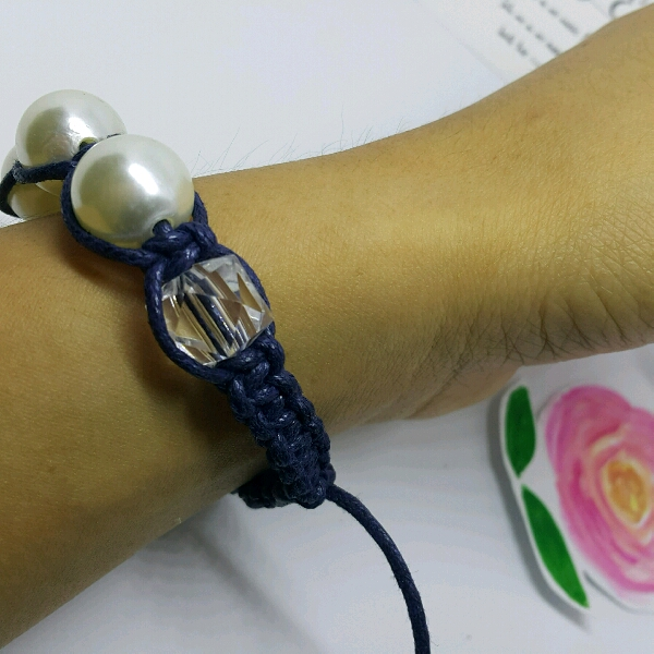 Large Navy Blue Cord Macrame Bracelet With Large Faux Pearls & Cubes3