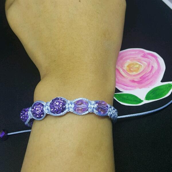 Light Blue Macrame Bracelet With High Quality Purple Swarovski Round Rondelle& Swarovski Crystals1