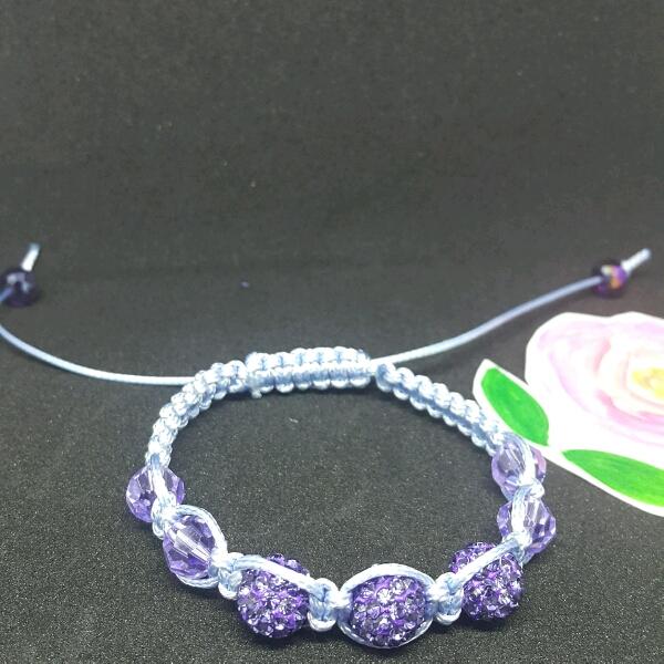 Light Blue Macrame Bracelet With High Quality Purple Swarovski Round Rondelle& Swarovski Crystals2