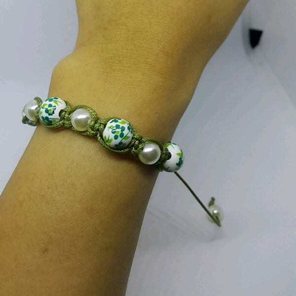 Olive Green Macrame Bracelet With Faux Pearls & Green Flower Porcelain Beads