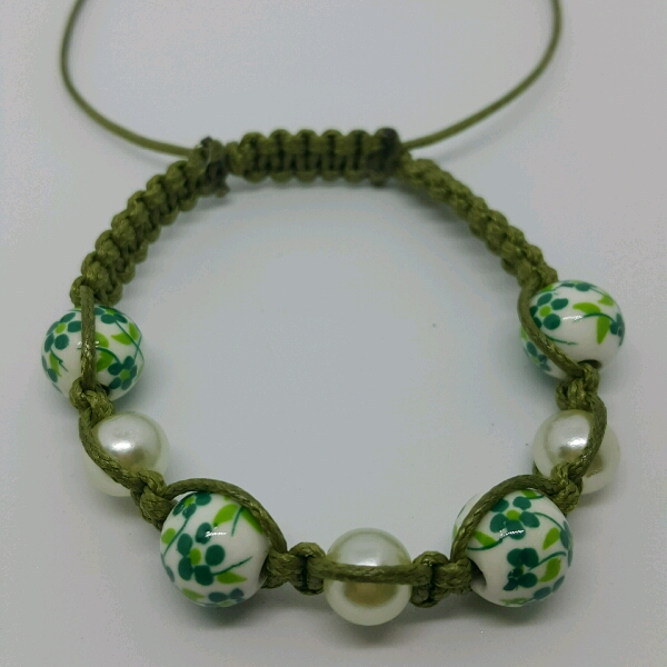 Olive Green Macrame Bracelet With Faux Pearls & Green Flower Porcelain Beads1