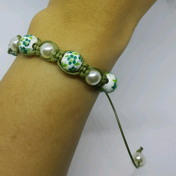 Olive Green Macrame Bracelet With Faux Pearls & Green Flower Porcelain Beads2