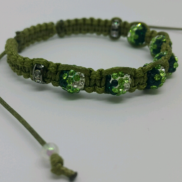 Olive Green Macrame Bracelet With Green Small Round Rondelle Crystals And Rondelle Crystals