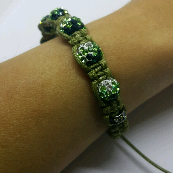Olive Green Macrame Bracelet With Green Small Round Rondelle Crystals And Rondelle Crystals1