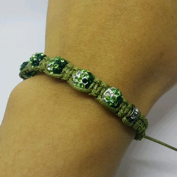 Olive Green Macrame Bracelet With Green Small Round Rondelle Crystals And Rondelle Crystals2