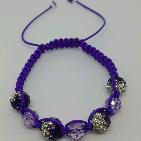 Purple Macrame Bracelet With Genuine Swarovski Crystals & Purple Round Rondelle Crystals