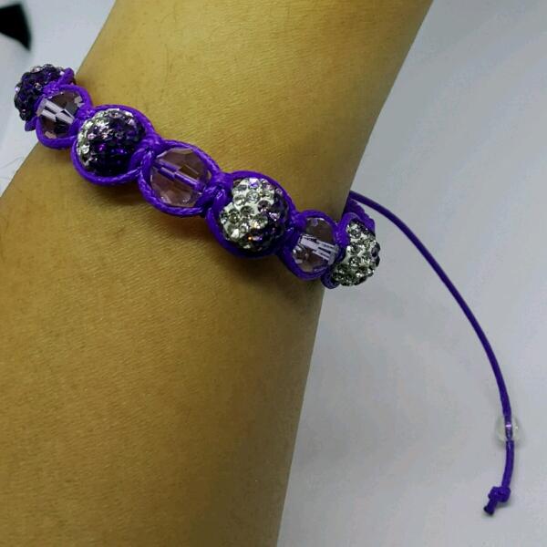 Purple Macrame Bracelet With Genuine Swarovski Crystals & Purple Round Rondelle Crystals1