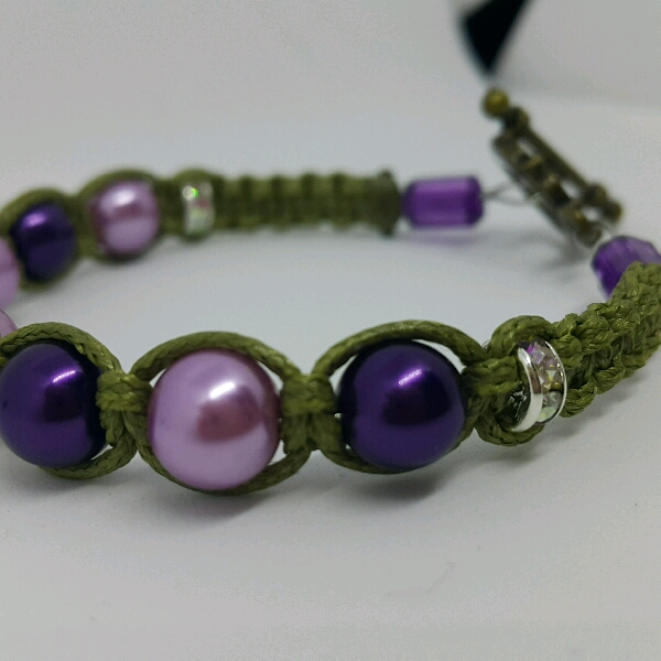 Strap-on Macrame Bracelet With Faux Pearls3