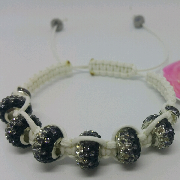 White Macrame Bracelet With Large Rondelle Pave & Small Rondelle