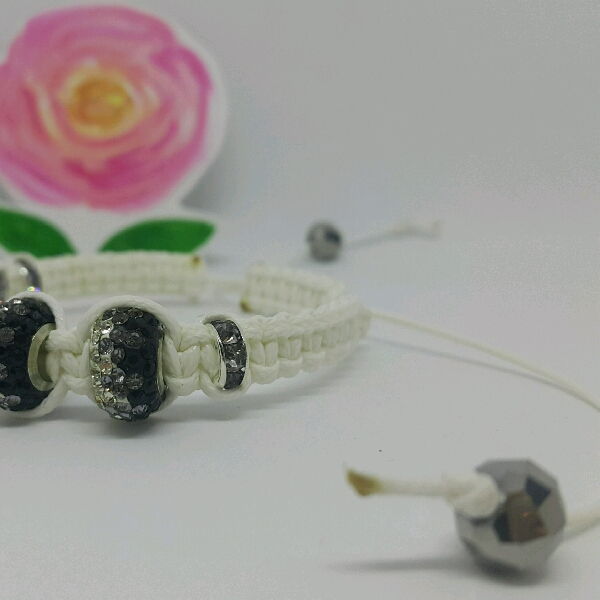 White Macrame Bracelet With Large Rondelle Pave & Small Rondelle1