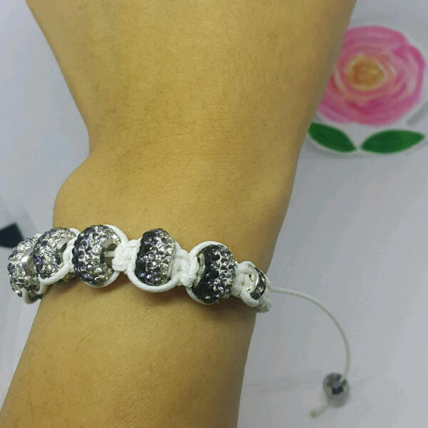 White Macrame Bracelet With Large Rondelle Pave & Small Rondelle3