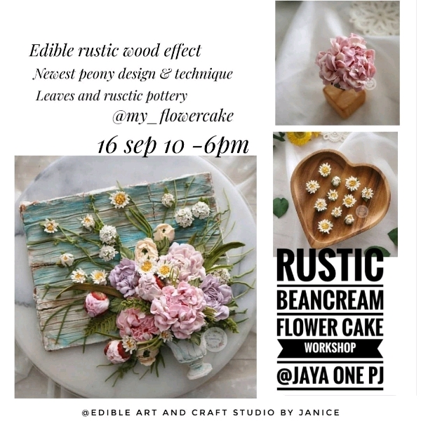 16_ Sep Rustic Edible Wood With Beancream Flower Cake0