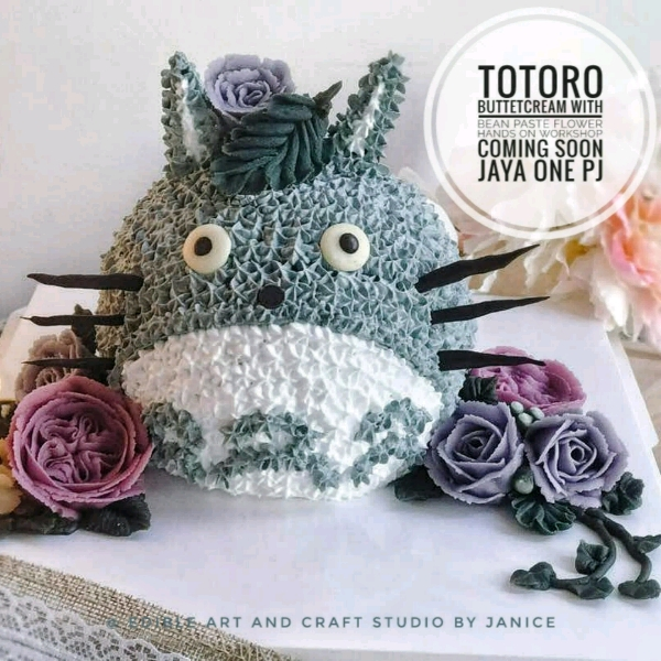 3D Totoro Cake With Bean Paste Flower Workshop0