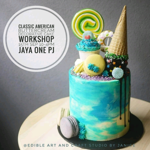 Classic American Buttercream Decorative Cake  Workshop0
