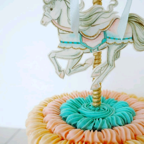 Hand Painted Carousel Ombre Buttercrean Cake Workshop1