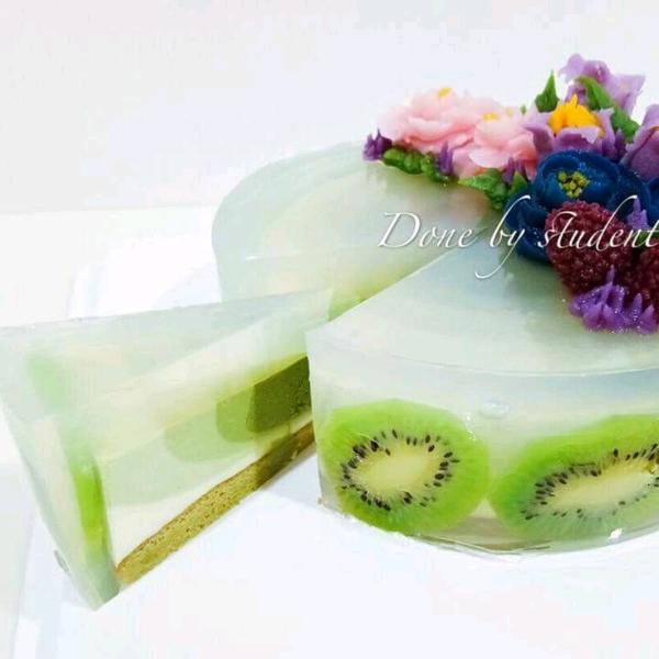 Korean bean paste flower matcha layer mousse cake1