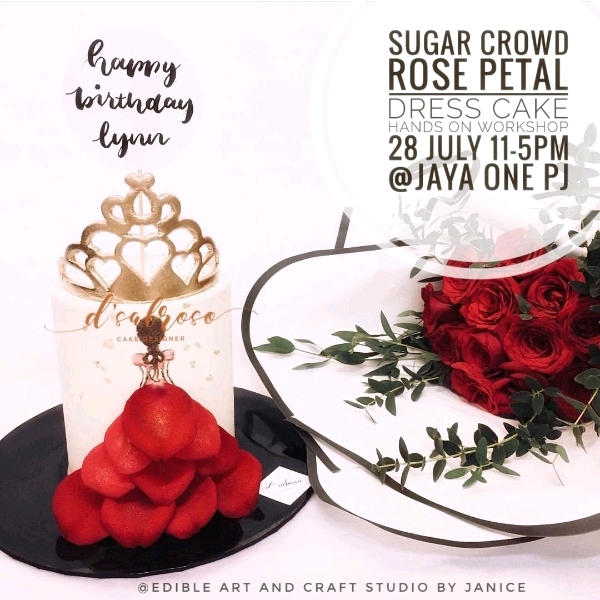 28 July Sugar Crowd Rose Petal Dress Cake Workshop0