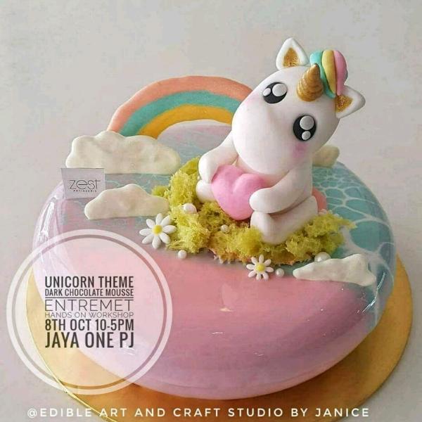 Unicorn Theme Mirror Glazed Entremet Workshop0