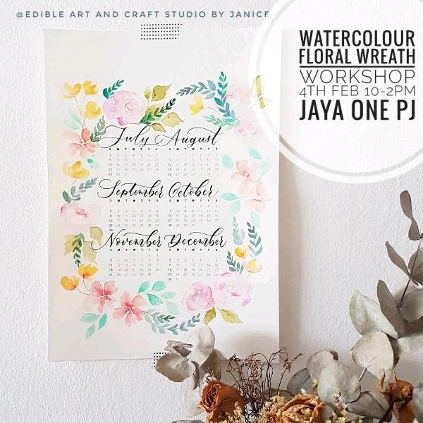 Watercolour Floral Wreath & DIY Calender Workshop0