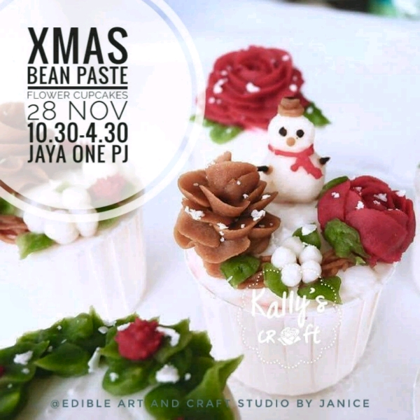Xmas Bean Paste Flower Cupcakes Workshop0