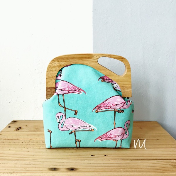 Wooden Frame Clutch In Tropical Prints0