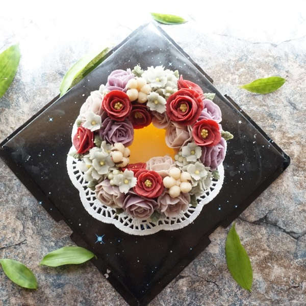 17/3 Korean Winter Rice Cake With Bean Paste Flower0