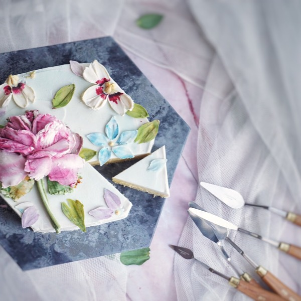 30/06 Bean Cream Knife Flower Art Cake0