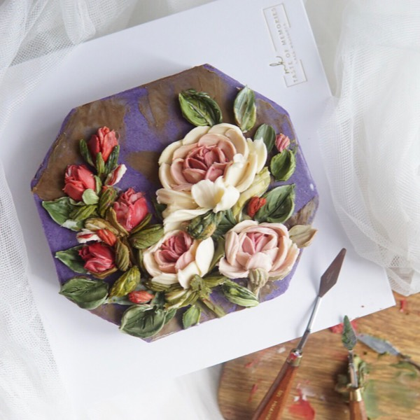 (04/03)Chocolate Cream Palette Knife Flower Sculpture0
