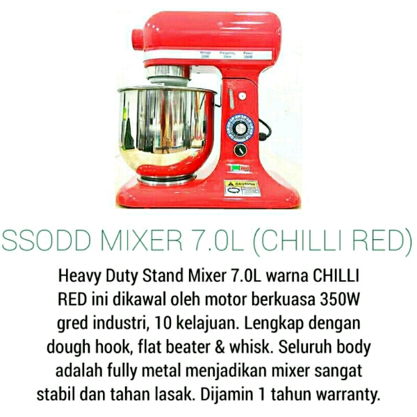 B7 7liter Chili Red Heavy duty Stand Mixer SSODD1