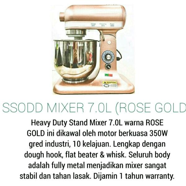 B7 7liter Rose Gold Heavy duty Stand Mixer SSODD1