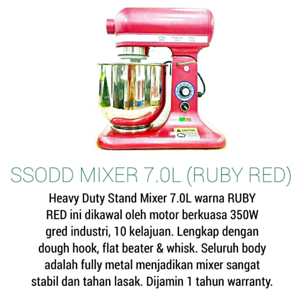 B7 7liter Maroon Red Heavy duty Stand Mixer SSODD1