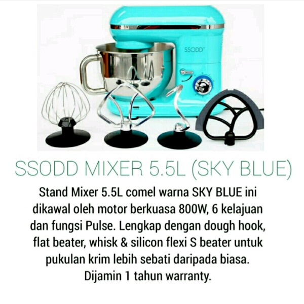 SM1301 5.5 LIters Sky Blue Stand Mixer SSODD